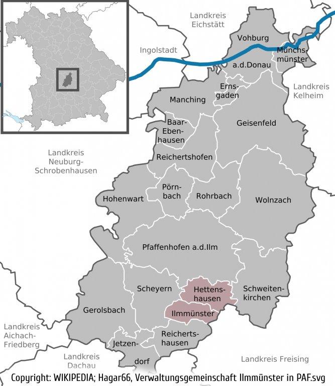 Geografische Lage aus WIKIPEDIA, Hagar66, Verwaltungsgemeinschaft Ilmmünster in PAF.svg